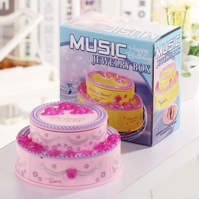 Creative Birthday Cake Shape Music Box Toy Plastic Music Box Present