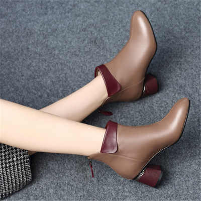 Yeni Kadın Botları 2019 Sonbahar Yüksek Topuklu Kadın Ayak Bileği Ayakkabı Boyutu 35-40 Bahar Botları Moda Ofis Deri Çizmeler