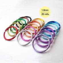 20 rouleaux/lot 18 jauge 1mm mixte 20 couleurs anadized aluminium métal bijoux fil souple 10m rouleau artisanat emballage fil de perles