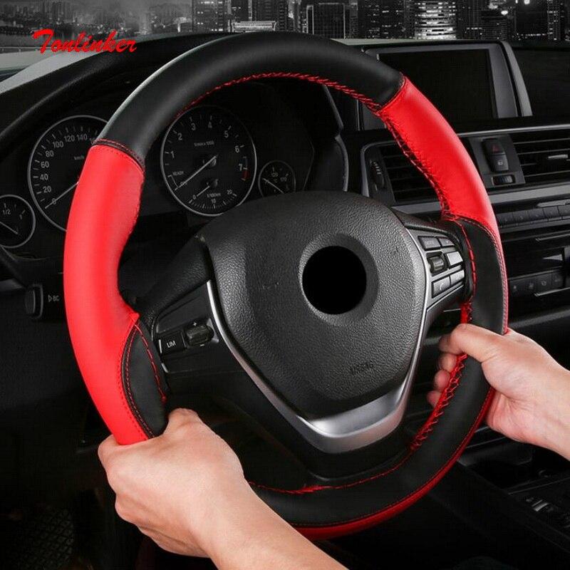Tonlinker Splicing Couro PU modelos sem Tampa da roda de Direcção Do Carro Universal-38 cm-Car styling Anti-Slip tampas de Roda Da direcção