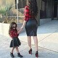 2 Unids/set Primavera Otoño Girls Clothing Set Kids Princesa A Cuadros Tops Camisa + Falda Trajes de Cuero de Moda Ropa de Las Muchachas Fijaron