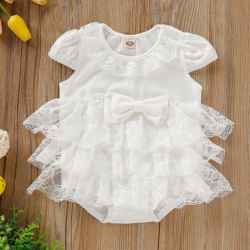 0 18M Newborn Baby Girl Lace Layered Ruffles Bowknot Tutu Princess Jumpsuit Playsuit Bodysuit Playsuit Clothes in Bodysuits from Mother Kids