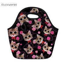 ELVISWORDS Cute Cats Printed Lunch Bag Neoprene Waterproof hand Box for Women Tote Girls Pinic Snacks Container Lovely