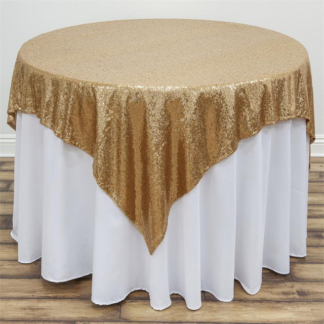 Completely new Free Shipping Square Gold Silver Sequin TableCloth For Wedding  PN11