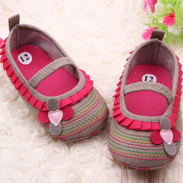 0-12M Sweetborn Baby Girls Flower Ruffled Shoes Toddler Soft Bottom Kids Crib First Walkers