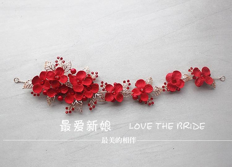 crvena frizura nova retro legura simulacija kosa cvijet ukosnica - Modni nakit - Foto 2