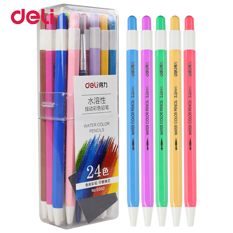 Deli 12/24/36 Colors/Set Kids Colored Pencils 2018 Mechanical Pencil For Drawing Sketching Stationery Pencil School Art Supplies marco renoir 3220 black wood colored pencils 24 36 48 colors watercolor pencils set for drawing lapis professional art supplies