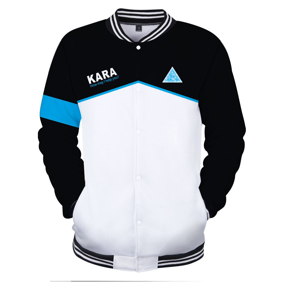 2018 New Hot Popular Games Detroit Become Human 3D Print Baseball Jacket KARA Unisex Unisex Style Fashion Baseball Jacket