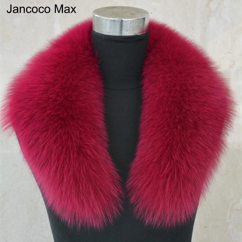 Jancoco Max Lady Fox Real Fur Collar Trim Women Winter Fashion Scarf Lining 75cm Parka Hood