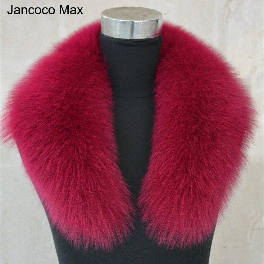 Jancoco Max Lady Fox Real Fur Collar Trim Women Winter Fashion Scarf Lining 75cm Parka Hood High Quality S1039