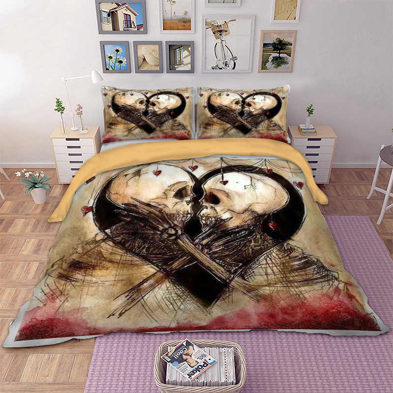 Skull Couple Bedding Set Duvet Cover Pillow Cases US Twin Full Queen King AU Super King Size Cool Bed Linen Quilt Cover Set 3pcs