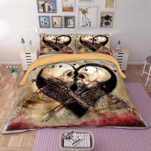 Skull Couple Bedding Set Duvet Cover Pillow Cases US Twin Full Queen King AU Super King Size Cool Bed Linen Quilt Cover Set 3pcs yellow green satin silk bedding set super king size queen full double quilt duvet cover fitted bed sheets bedspreads doona 6pcs