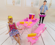 Pink Barbecue Table Chair Set Dollhouse Furniture Pretend Play Accessories for 1 6 Barbie Kurhn Kelly