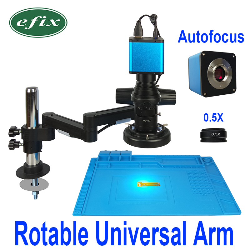 Autofocus Rotable Universidade Braço Fique Microscópio Indústria Continua Zoom Foco Automático SONY IMX290 HDMI de Vídeo Da Câmera LEVOU Luz