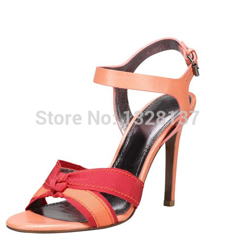 women Checkered Bowtie shoes Open Toe Thin High Heel High Quality Sandal Women Fashion Shoes Heel Buckle Strap Unique Shoes
