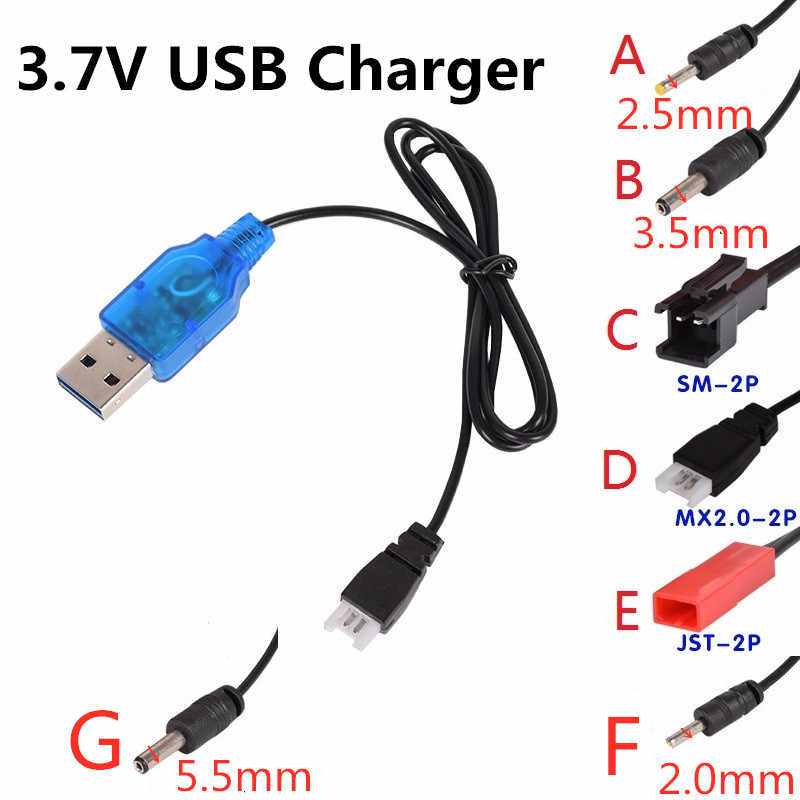 3.7V Battery USB Charger SM JST 2P MX2.0-2P X5 3.5MM 2.5MM For RC Helicopter Quadcopter Toys Car Model Truck Spare Parts