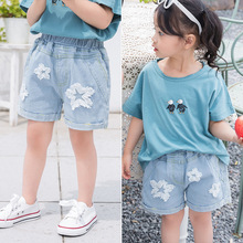 2019 spring summer GIRLS KIDS Jeans Casual  Loose Comfortable Breathable Blue star personality jeans jeans star