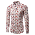 2016 New Autumn Fashion Brand Men Clothes Slim Fit Men Long Sleeve Shirt Men's Cotton Casual Leaf Printed Shirt Social Size 3XL