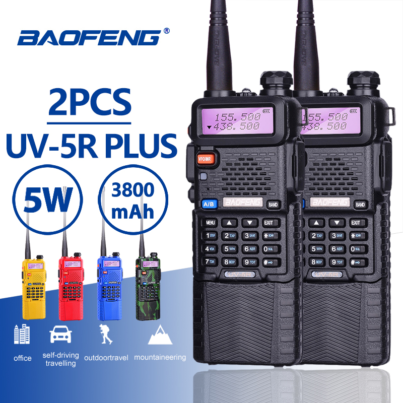 2 pcs Baofeng UV-5R 5 W 3800 mAh Longue Attente Batterie Talkie Walkie UV 5R UHF VHF Double Bande Portable hf Deux Voies Radio UV5R