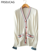 Hot new products Winter women 's jacket pure cashmere sweater v collar long sleeve computer knitted loose comfortable cardigan