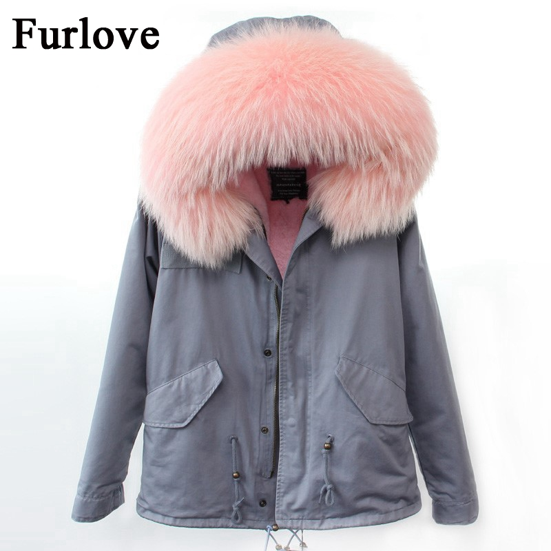 New Parkas For Women Winter With Fur Coat 2017 Gray Blue Red Coats Real Raccoon Fur Collar Parka Thick Warm Hooded Jacket Womens 2017 winter new clothes to overcome the coat of women in the long reed rabbit hair fur fur coat fox raccoon fur collar