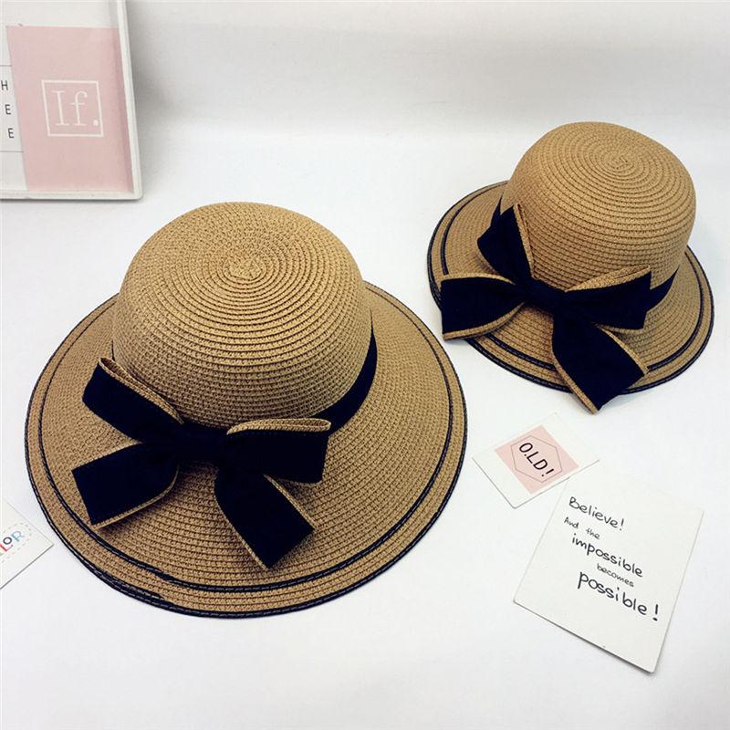 New Women Summer Parent-child Women Casual Daily Baby Kids Girl Beach Bow Straw Flat Brim Sun Hat Cap #4F09 (20)
