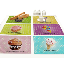 цены Cute Cartoon Ice-cream Cake Dot Placemat for Dining Table Cup Coaster Set  Cotton Linen Fabric Printing Table Mat Pad Doilies