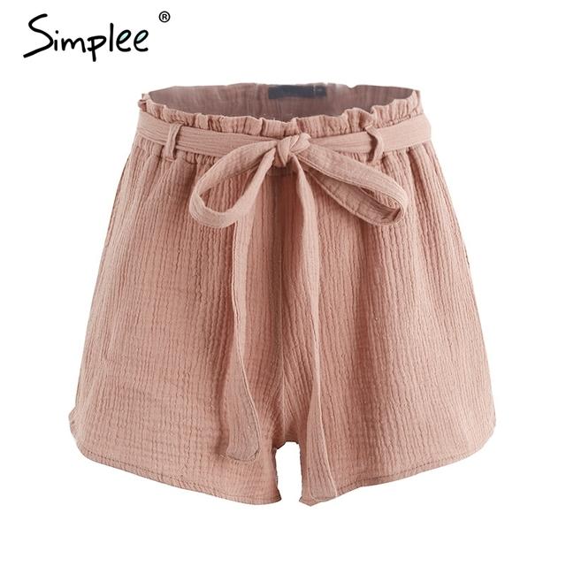 Simplee Bow high waist shorts women Fashion summer beach 2017 sashs shorts sexy Elastic casual cotton short black shorts