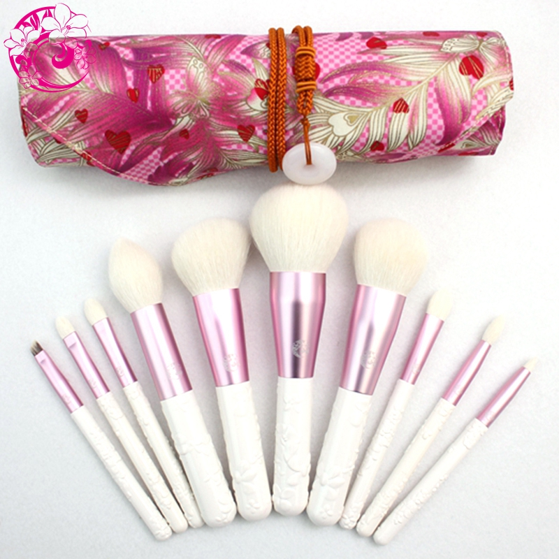 ENERGY Brand camellia 10pcs Goat Hair fashion new arrival Makeup Brushes with bag Brochas Maquillaje Pinceaux