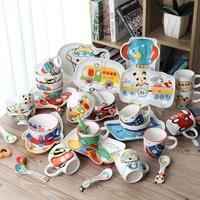 4pcs Set Animal Transportation Baby Plate Bow Cup Forks Spoon Dinnerware Feeding Set Ceramic Cartoon Baby