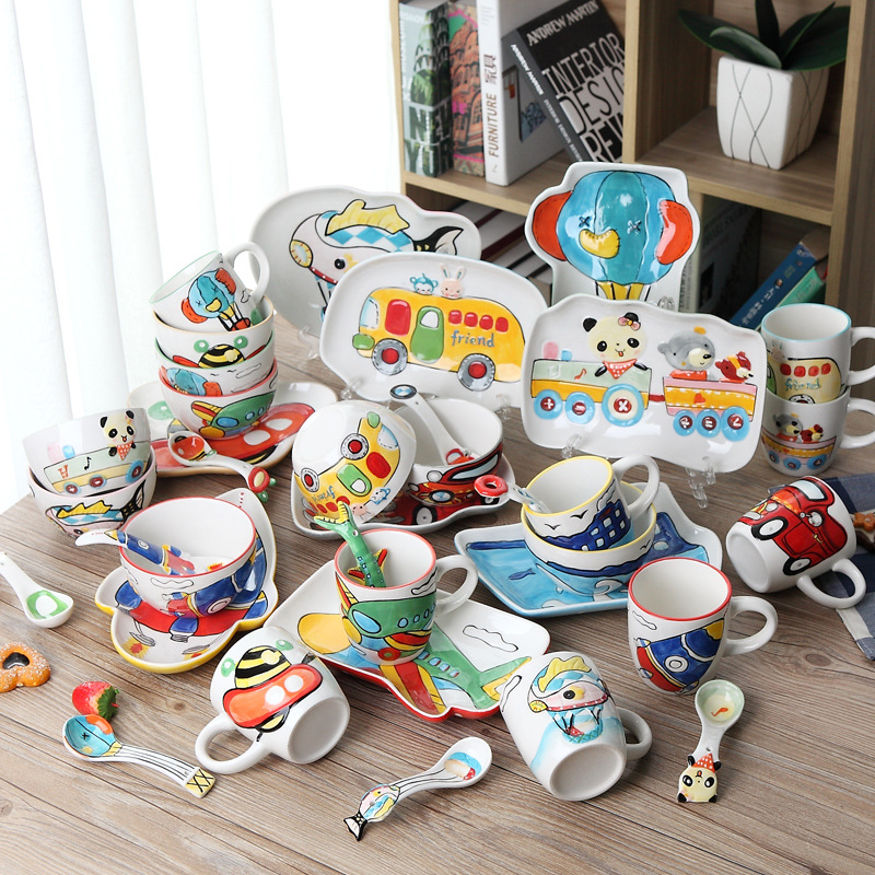 4pcs / set animal Transportation Baby plate bow cup Forks Spoon Dinnerware feeding Set, ceramic cartoon Baby children tableware