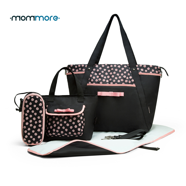 ddd6cbd326f55 mommore 4PCS/Set Diaper Bag with Baby Changing Pad Small Tote Bag Pink Dot  Nappy