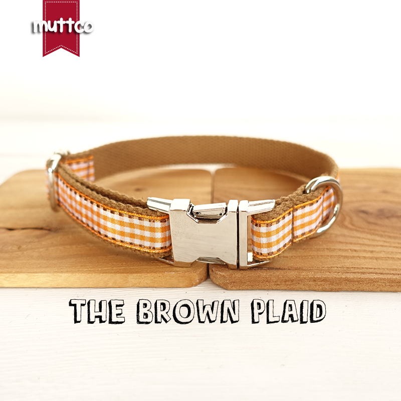 MUTTCO detailhandel halsband in Engelse stijl THE BROWN PLAID halsband 5 maten UDC013