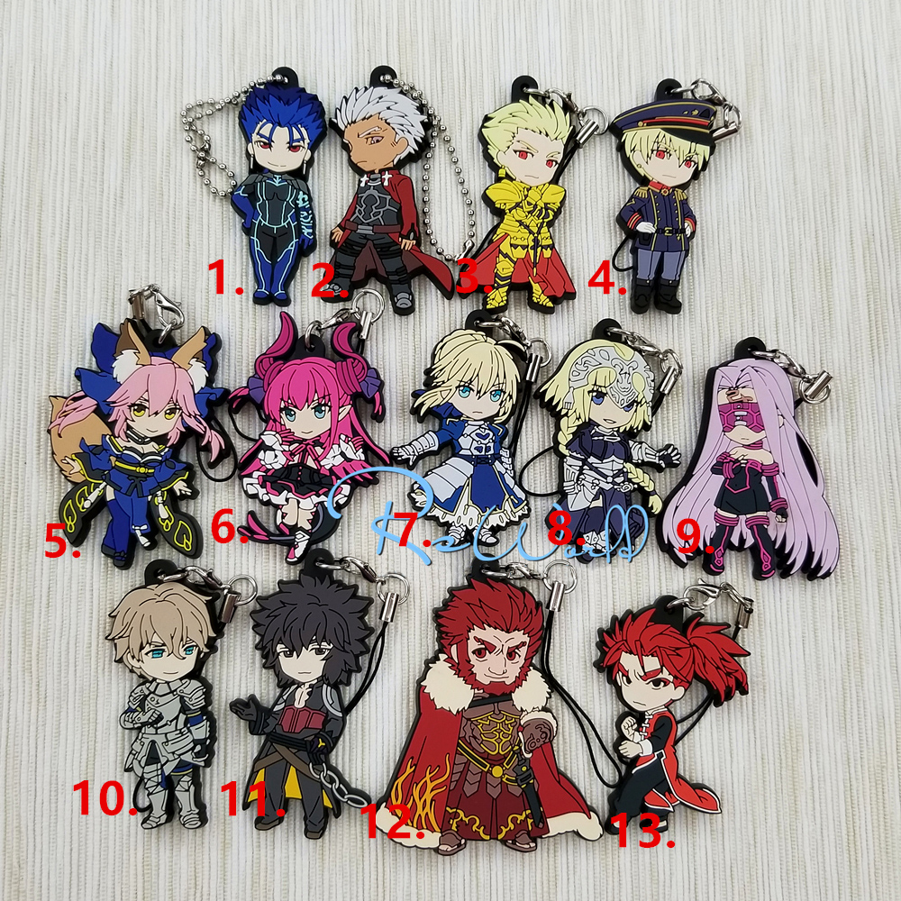 Fate/Grand Order Anime Gilgamesh Joan of Arc Nero Saber Karna Chulainn Artilla Erzsebet Bathory Gawain Rubber Keychain fate grand order fate apocrypha anime jack the ripper assassin mordred astolfo joan of arc atalanta semiramis rubber keychain