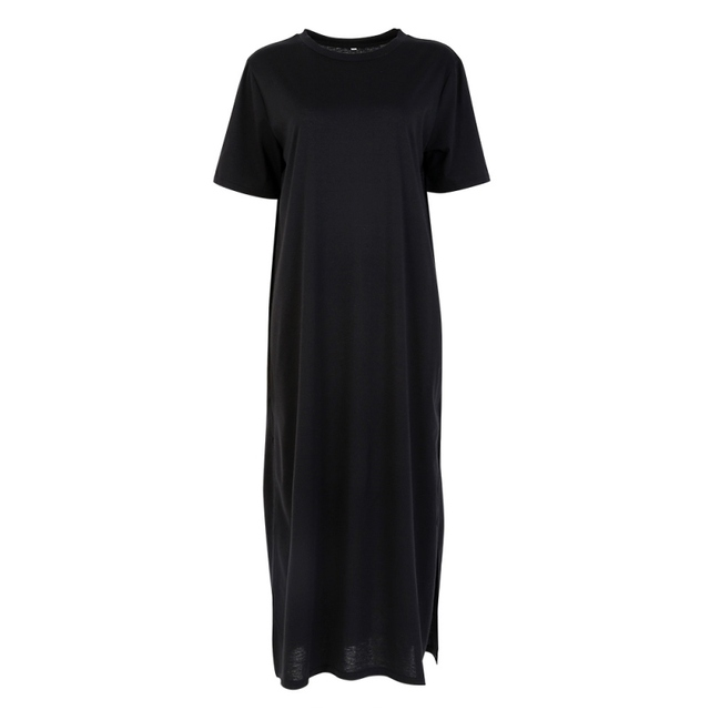 Oioninos Casual Summer Side High Slit Long T shirt Women Sex Dress Short Sleeves Black New Fashion Clothing