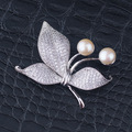 Gold plated Jewelry Butterfly Shape Natural Pearl Brooches Elegant AAA Cubic Zirconia Scarf Buckle Christmas Gift