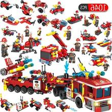 1046pcs Fire Fighting 12 In1 Trucks Car Helicopter Boat Building Blocks Compatible Legoed City Firefighter Figures Children Toys(China)