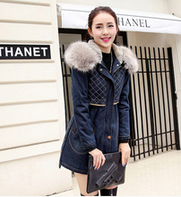 Winter Coat Women Fashion Fur Hooded Thicken Wadded Denim Parkas Women Cotton Padded Jeans Jacket Plus Size XXL H6791