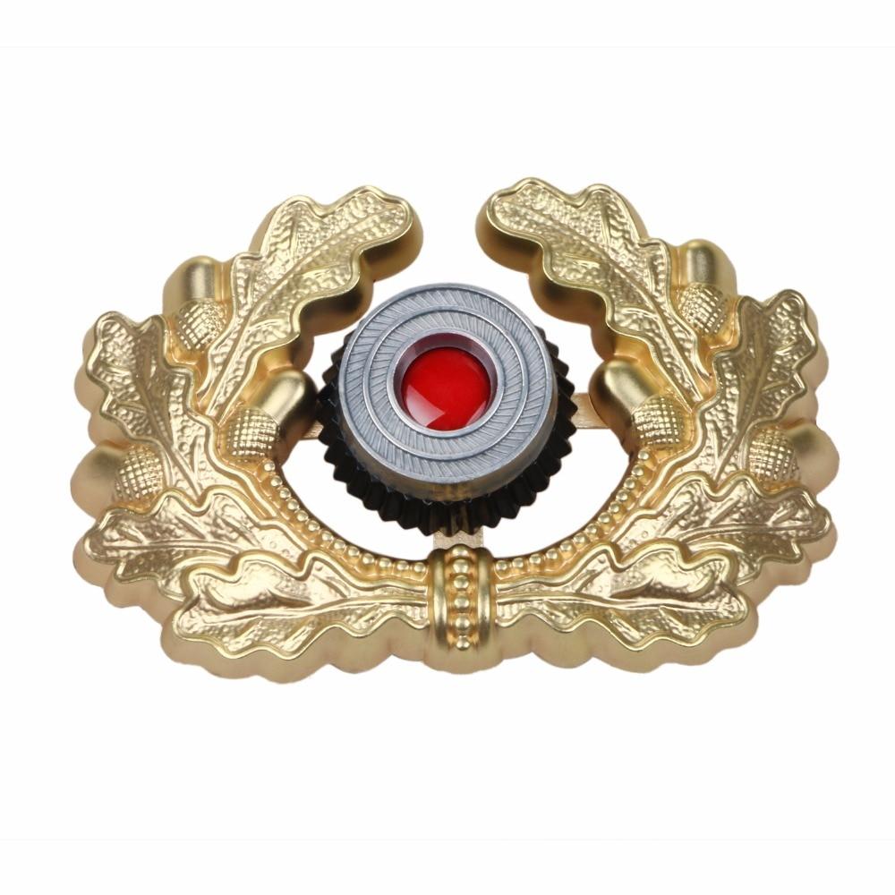 WW2 GERMAN VISOR CAP BADGE GOLD ARMY PANZER OFFICER'S WREATH COCKADE