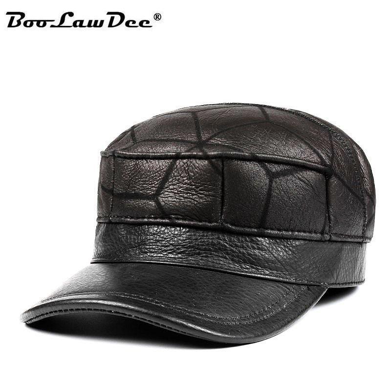 BooLawDee 2018 men cow genuine leather fur American military hat with inner  ear flag thicken winter dad cap 55-60cm M555A 4d67606721b