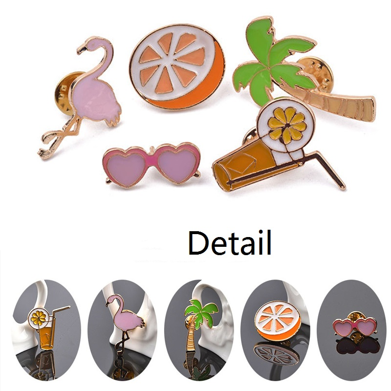 Badge Set Sunglass Coconut Tree Shirt Brooch Collar Pin Set Necktie Clip Cute Enamel Lemon Orange Lapel Pin