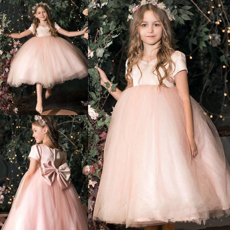 Tulle Princess   Dress   with Bow Zipper Back Ankle Length V-Neck Customized   Flower     Girl     Dress   For Wedding Reasonable Price Vestidos