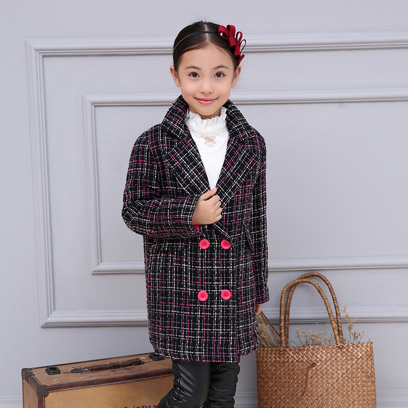 ФОТО plaid girls coats and jackets kids clothes long little teenage girl jackets girls outerwear coats winter kid coat thick clothes