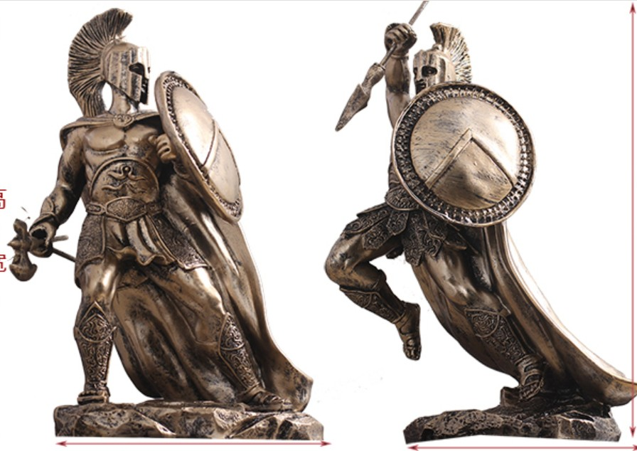 European ancient warrior handicraft Greek artwork statue armor samurai model hotel model room Crafts Arts decoration
