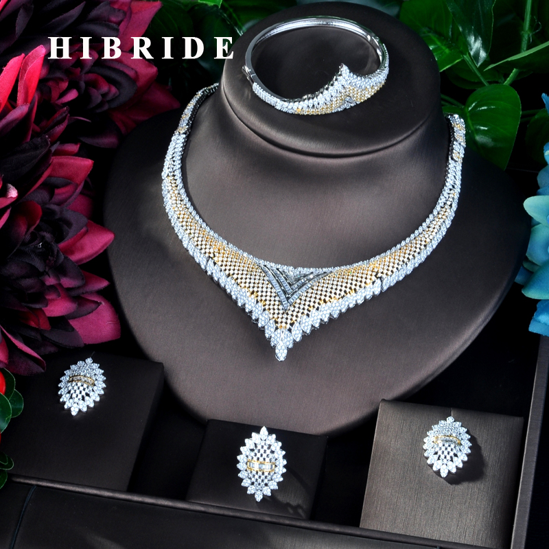 HIBRIDE Fashion Design  Luxury Double Tone Women Wedding Bridal Cubic Zirconia Necklace Dubai Dress Jewelry Set For Gifts  N-852HIBRIDE Fashion Design  Luxury Double Tone Women Wedding Bridal Cubic Zirconia Necklace Dubai Dress Jewelry Set For Gifts  N-852