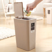 8L/12L Trash Can Pressing Cover Type Waste Bin Kitchen Sitting Room Toilet Trash Office Paper Basket Garbage Bucket Dropshipping|Waste Bins| |  -