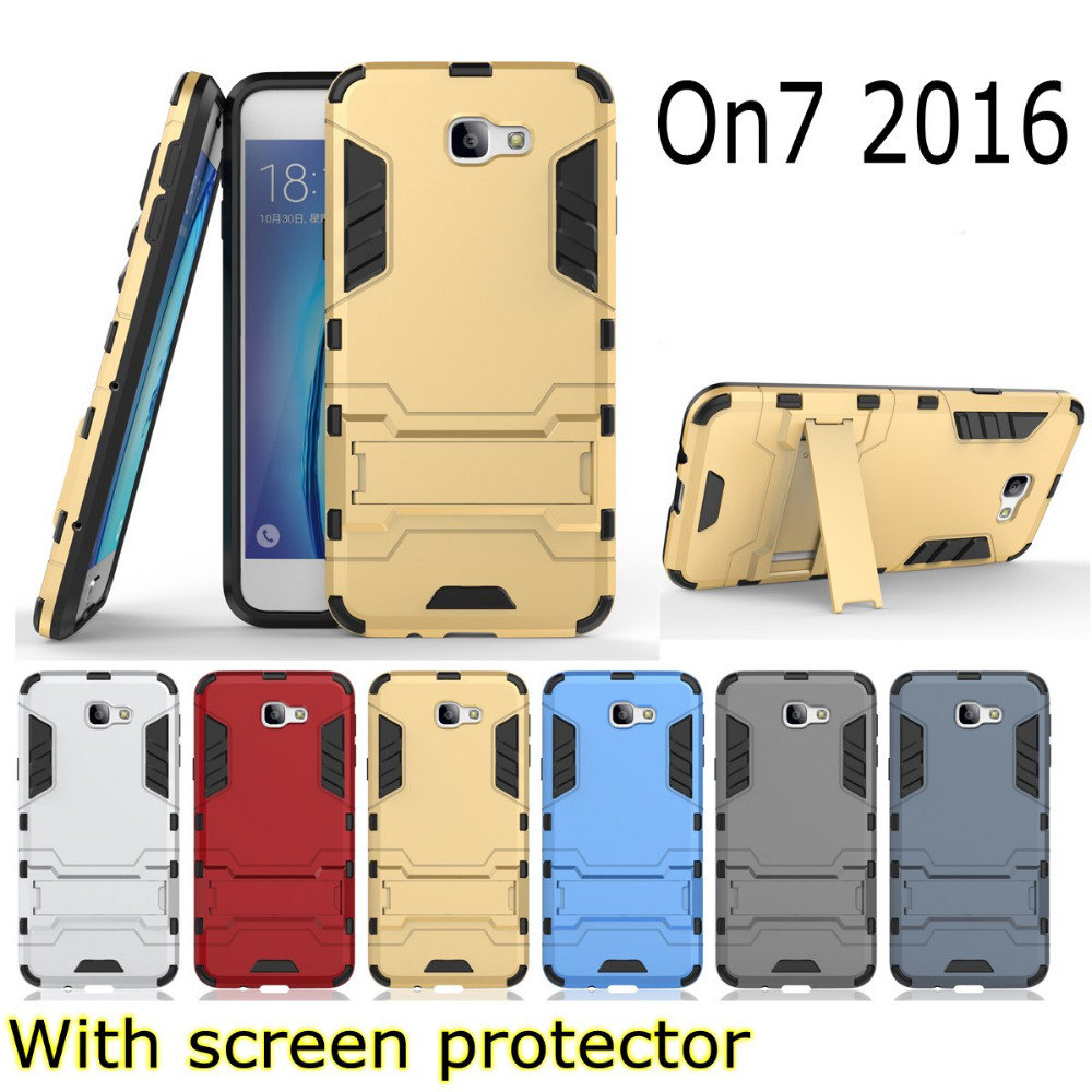 Armor 2 in 1 metal plating plastic hard Kickstand holder Combo case cover for Samsung Galaxy On7 2016 G6100 j7 prime + film