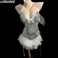 Silvery Feather Sparkly stones Crystals bodysuit Bar Singer dancer show stage outfits Nightclub Female DJ DS Costume prom
