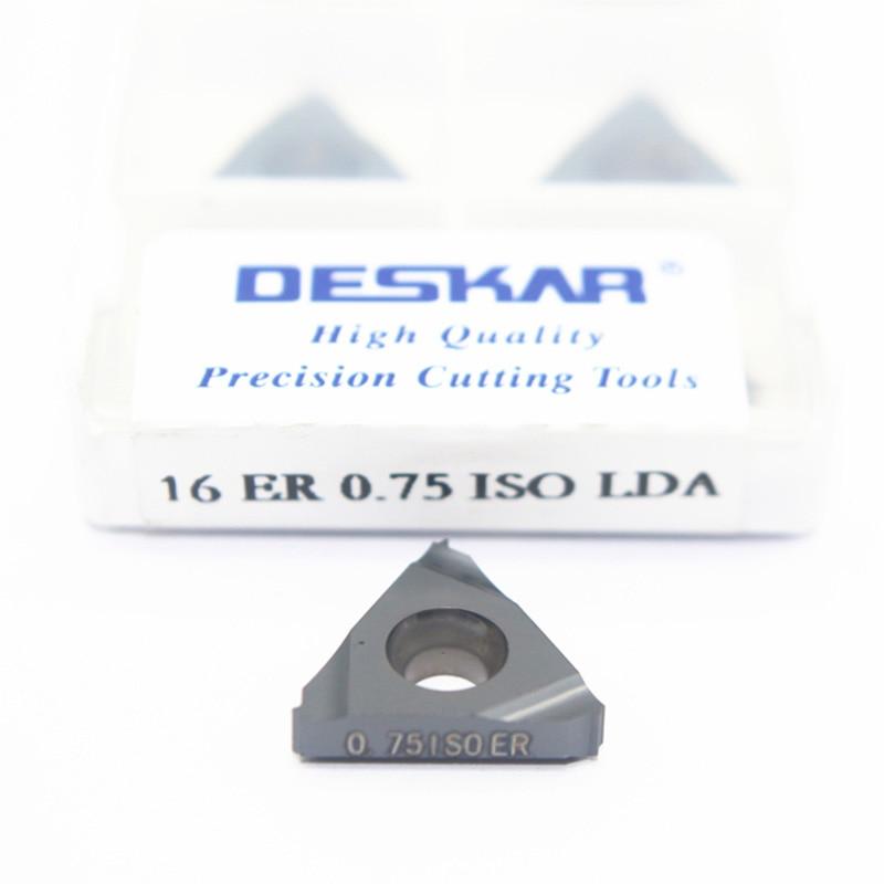 10pcs 16ER 0.5/0.75/1/1.25/1.5/1.75/2/2.5/3/3.5 ISO LDA Carbide Inserts CVD Coating DESKAR Brand Cut Steel And Cast Steel