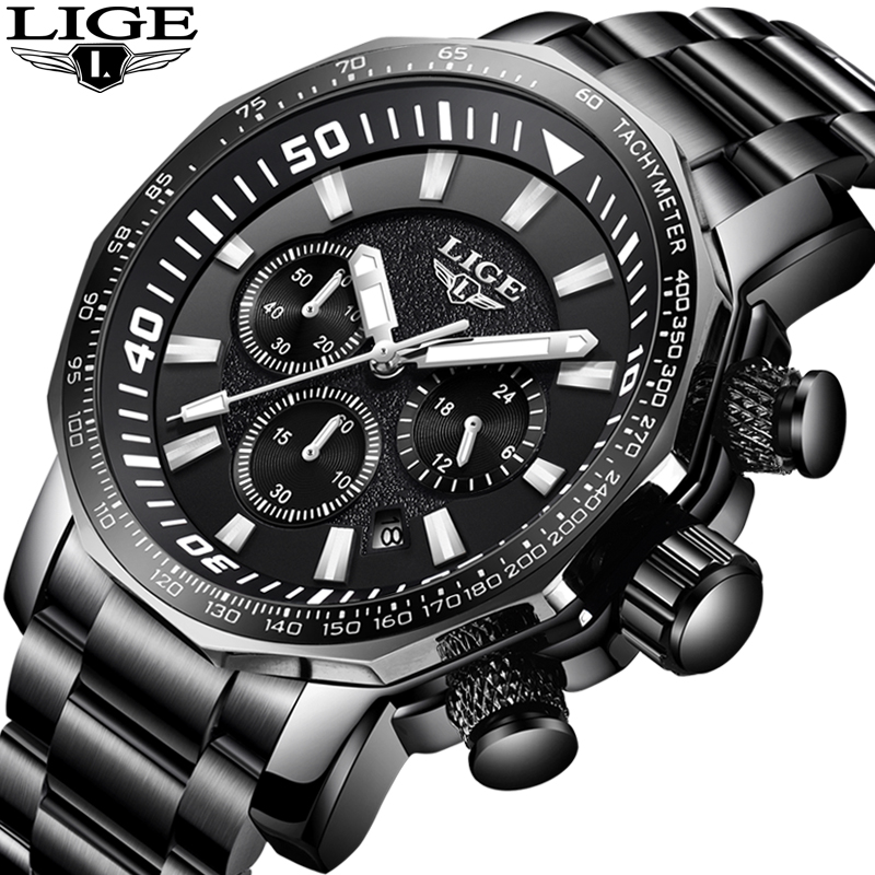 LIGE Watch Men Fashion Casual Sport Quartz Watch Mens Watches Top Brand Luxury Full Steel Waterproof Watches Relogio Masculino smael mens watches top brand luxury casual quartz watch men waterproof shock sport led digital watches men relogio masculino